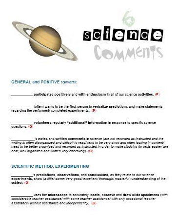 Report Card Comments Science  Timesavers For Teachers
