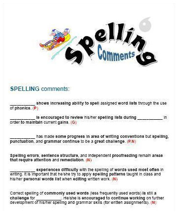 free teacher spelling commnets